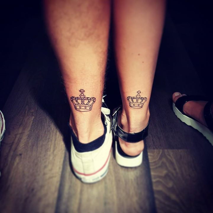 King Queen Crown Tattoos On Legs For Couples