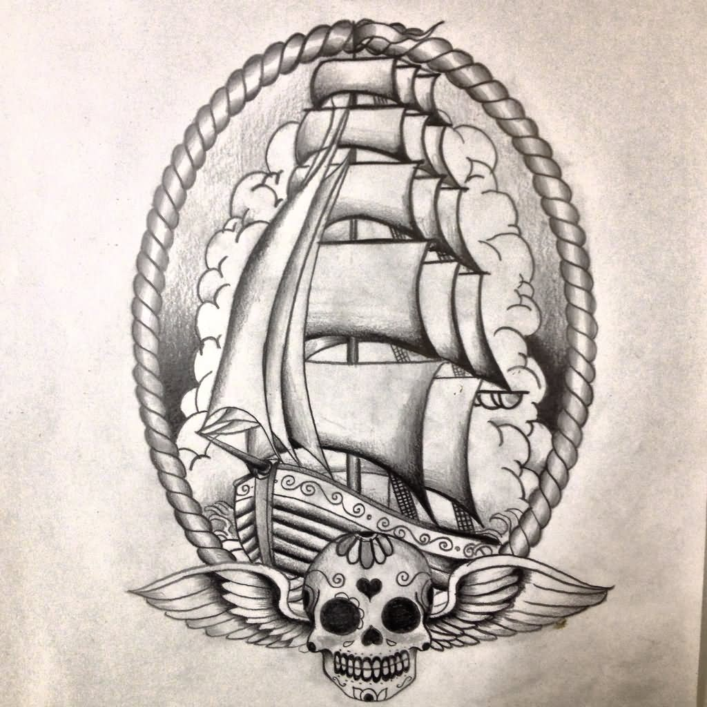 old school ship tattoo design by dazzbishop. Black Bedroom Furniture Sets. Home Design Ideas