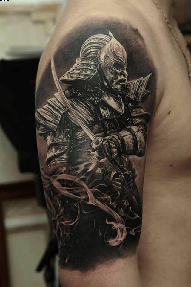 Realistic Spartan Tattoo On Half Sleeve