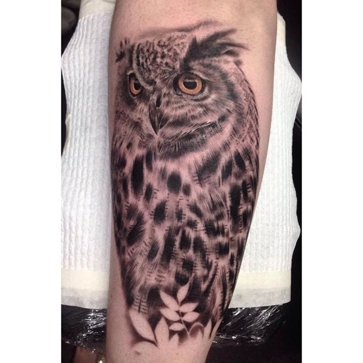 Realistic owl tattoo by Whitney Develle