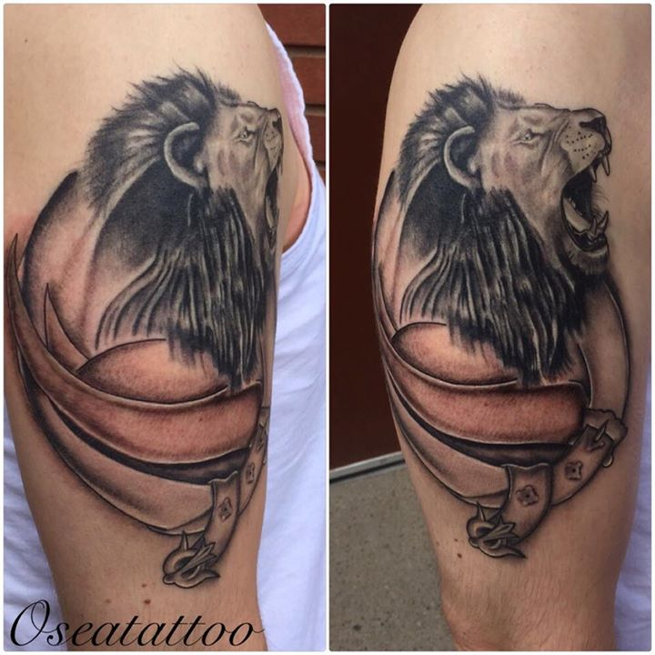 Roaring lion side pose tattoo on half sleeve by Dragon Fx