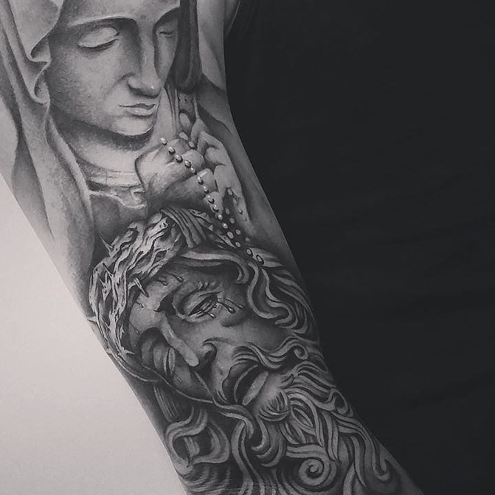 Black and grey jesus saint mary tattoo on man chest by for Jesus tattoos on arm