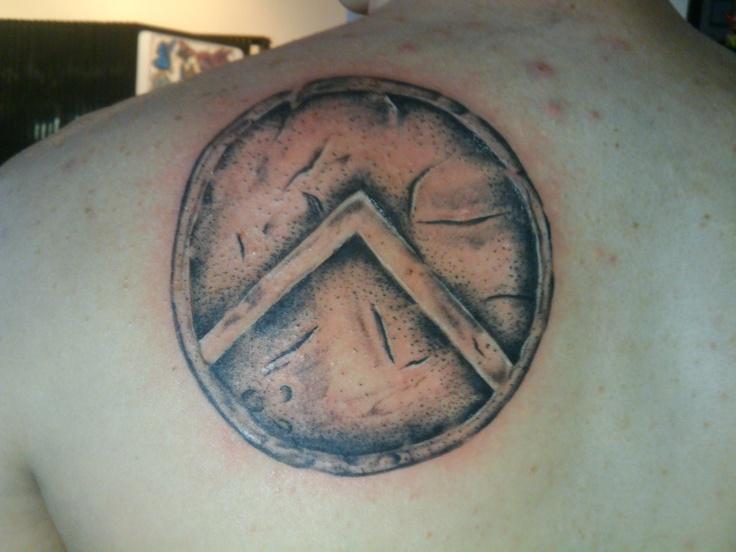 Spartan Shield Tattoo On Back