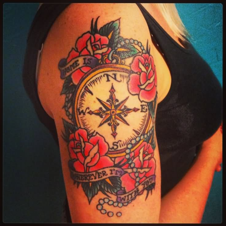 Traditional Rose Flowers And Nautical Compass Tattoo
