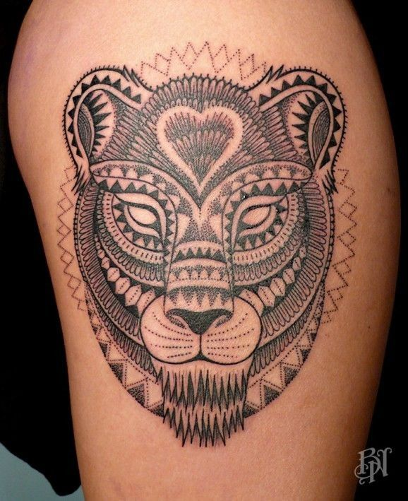 unique lioness head tattoo on shoulder by jeykill. Black Bedroom Furniture Sets. Home Design Ideas