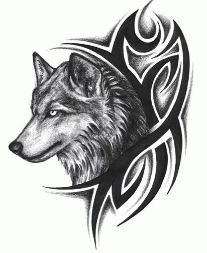 a9cd136c88ca6 Tribal wolf tattoo design · Nice Grey Wolf Head ...