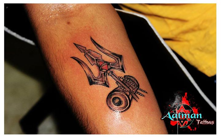 e5d69b2c7 Black Ink Trishul With Pellet Drum Tattoo On Forearm