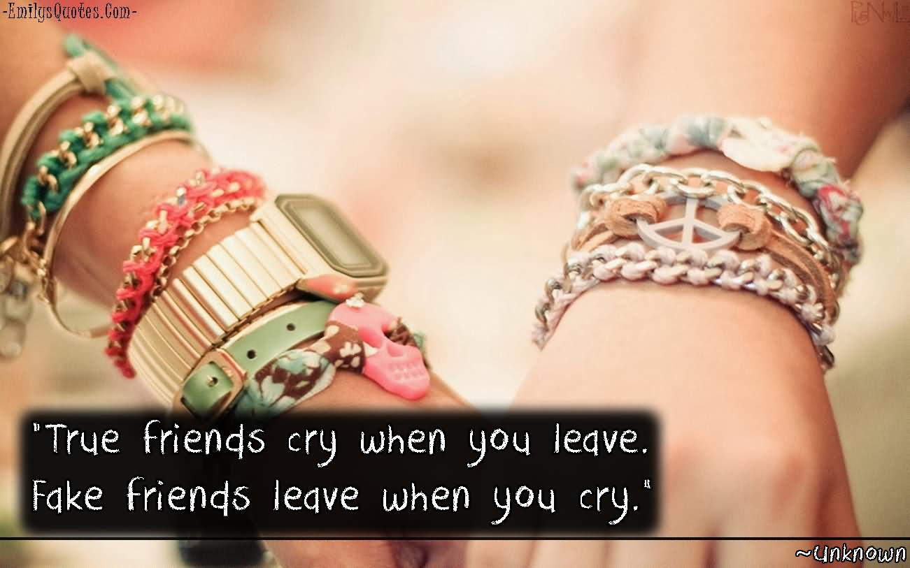 Quotes About True Friendship And Fake Friends True Friends Cry When You Leavefake Friends Leave When You Cry.