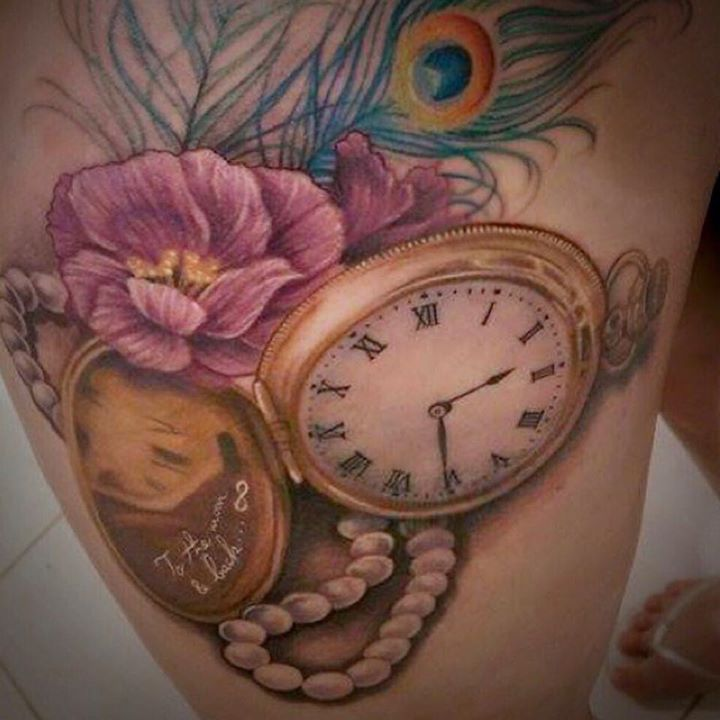 Watch With Flowers And Peacock Feather Tattoo