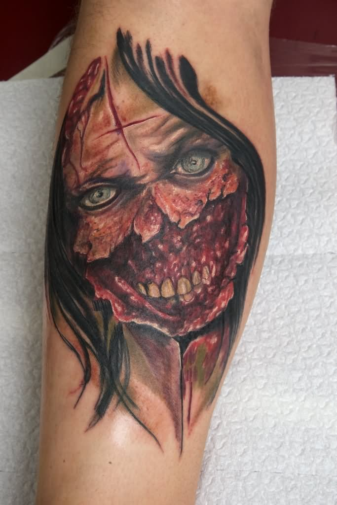 Cute Zombie Girl Face Tattoo On Leg Calf By Eddy Lee