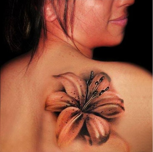 5718efe2b Blue Ink Stargazer Lily Tattoo On Back Shoulder by Blue Magic Pins