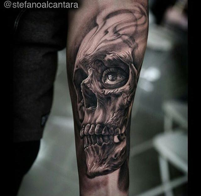 3d skull tattoo on left arm by stefano alcantara. Black Bedroom Furniture Sets. Home Design Ideas