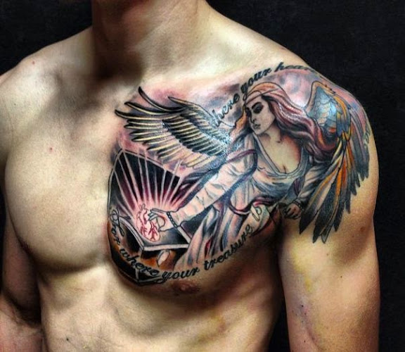 15 Incredible Angel Chest Tattoo & Designs