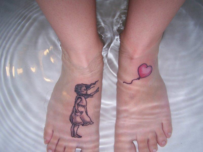 Banksy Girl Tattoos On Feet