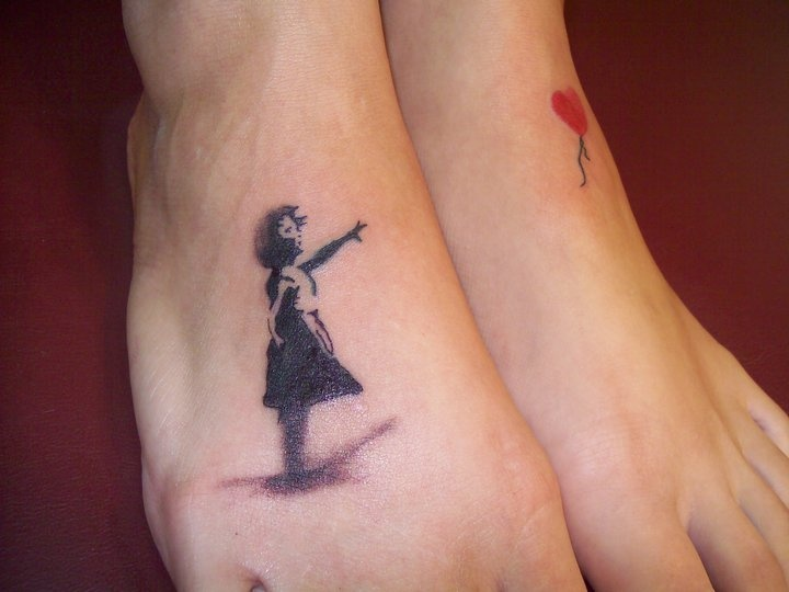 87c5ac91d Banksy Girl With Balloon Tattoo Design On Feet