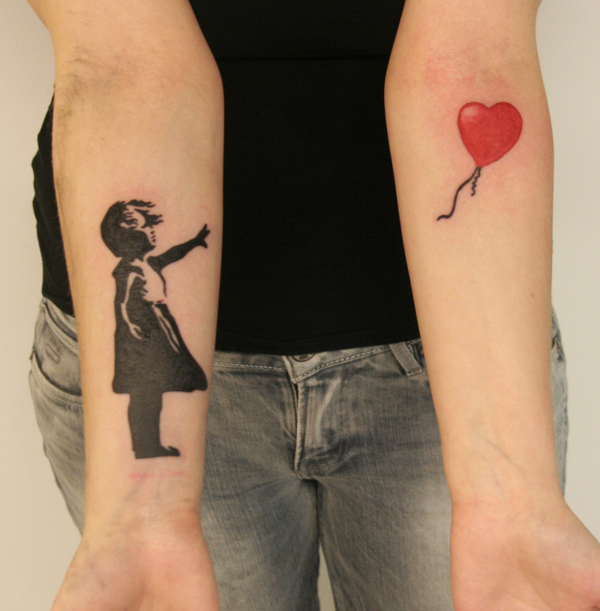 58f7592f4 Banksy Girl With Red Balloon Tattoo by Tuomas Koivurinne