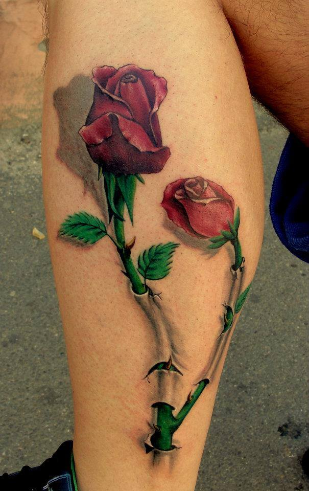 beautiful 3d red rose tattoo by luci. Black Bedroom Furniture Sets. Home Design Ideas