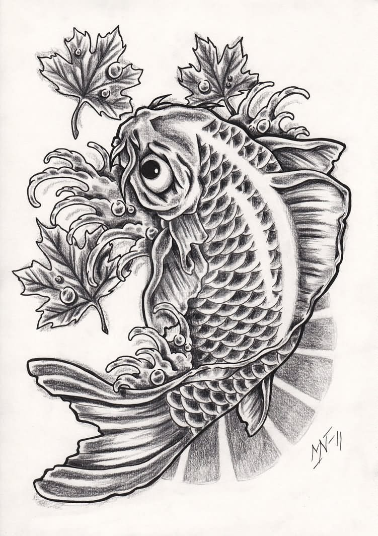 30 koi fish tattoo designs with meanings for Black and white coy fish