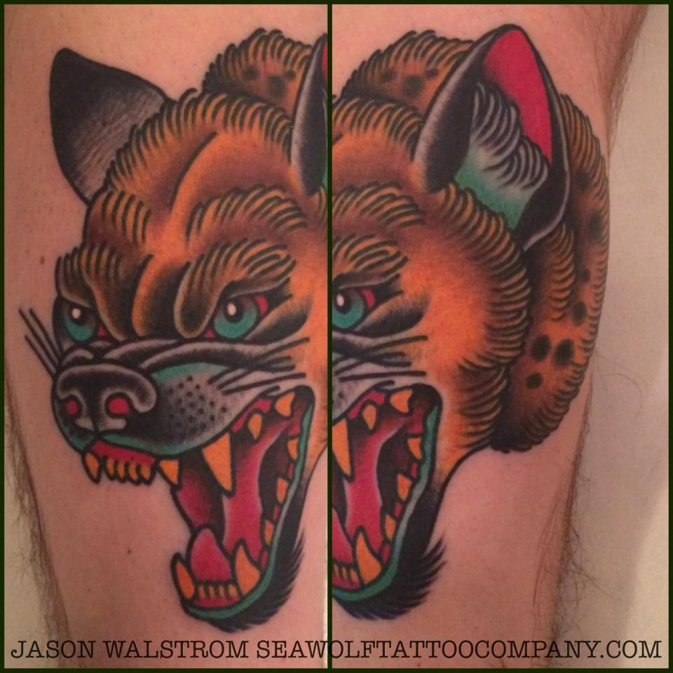 colorful hyena tattoo by seawolftattoocompany. Black Bedroom Furniture Sets. Home Design Ideas