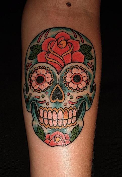 Colorful sugar skull with yellow rose tattoo design for for Candy skull tattoo
