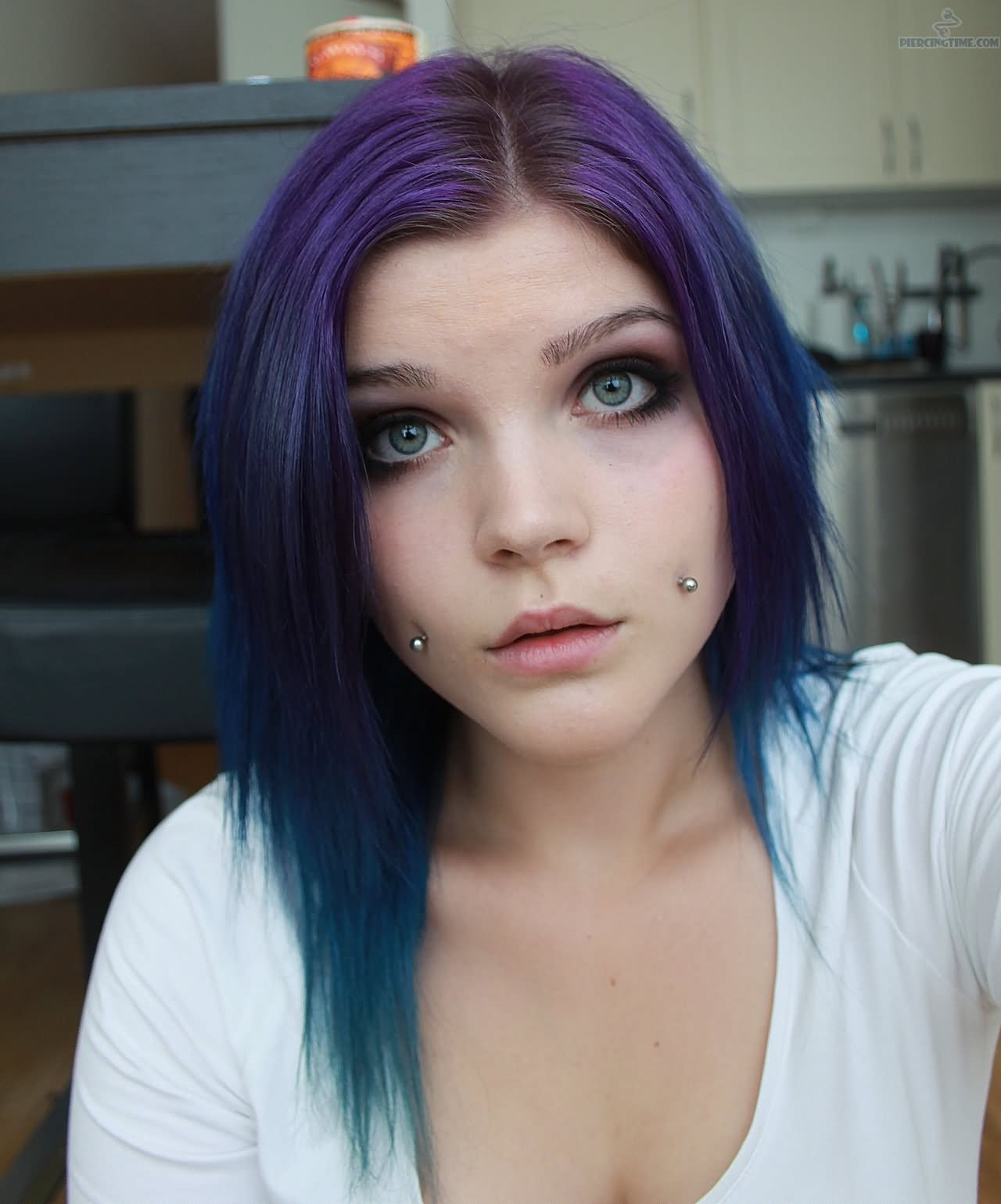 Cool Cheek Piercing For Young Girls