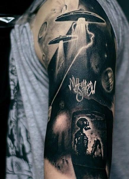 creepy black apocalyptic alien tattoo on right sleeve. Black Bedroom Furniture Sets. Home Design Ideas