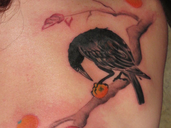 nice crow tattoo on left forearm. Black Bedroom Furniture Sets. Home Design Ideas