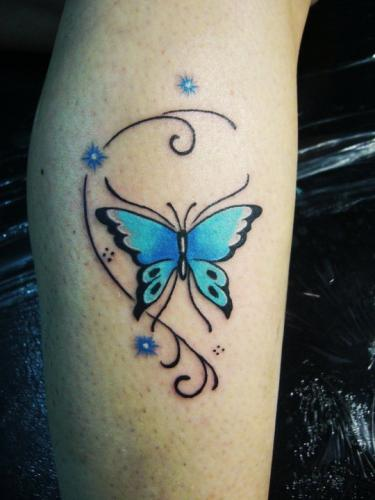 cute mariposa tattoo on leg. Black Bedroom Furniture Sets. Home Design Ideas