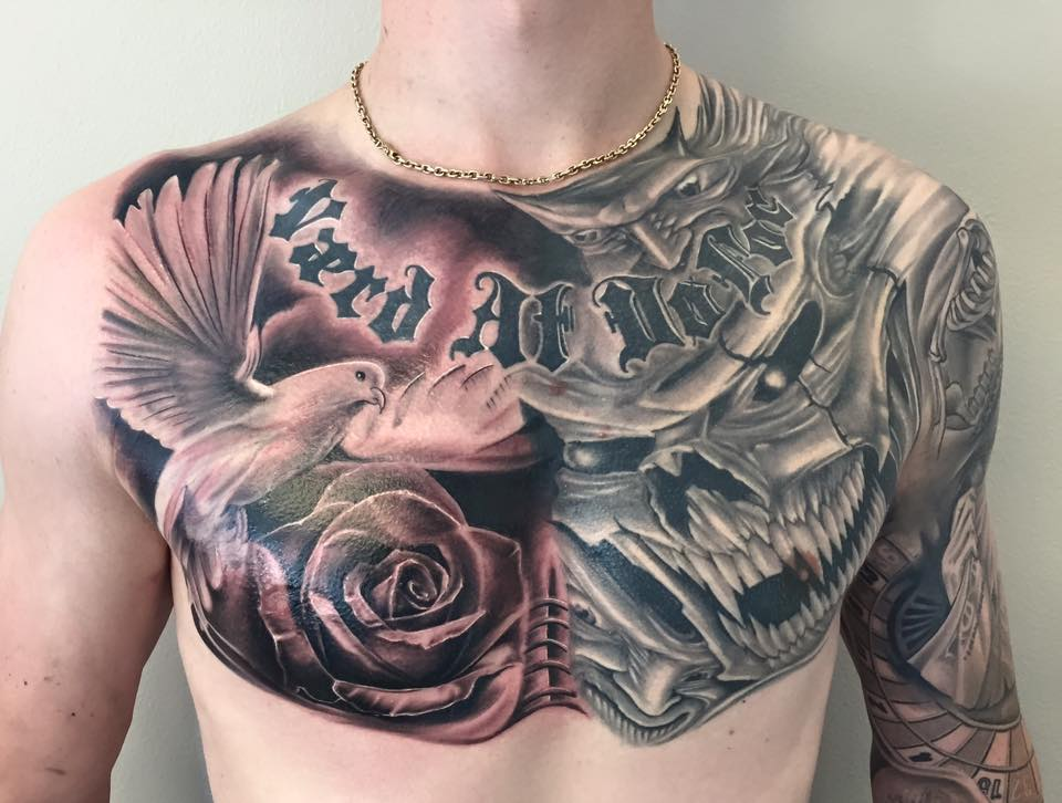 Dove Rose Tattoo On Man Chest By Tattoo Mini