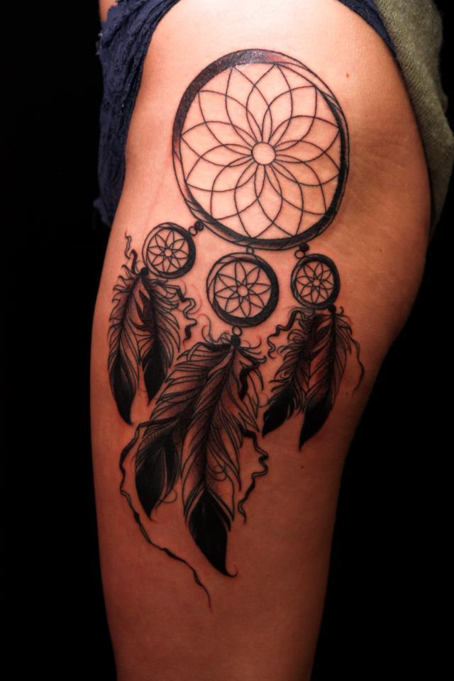 Traditional Dream Catcher Tattoo Dream Catcher Tattoo on Left Leg Sleeve 33
