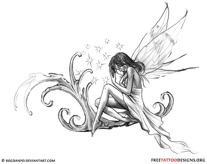fa6471ea2 Black And Grey Fairy Tattoo Design