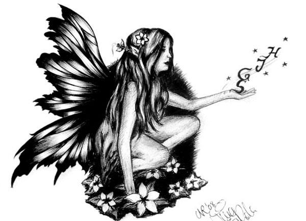 8b176cc2b Grey Ink Evil Fairy On Mushroom Tattoo Design