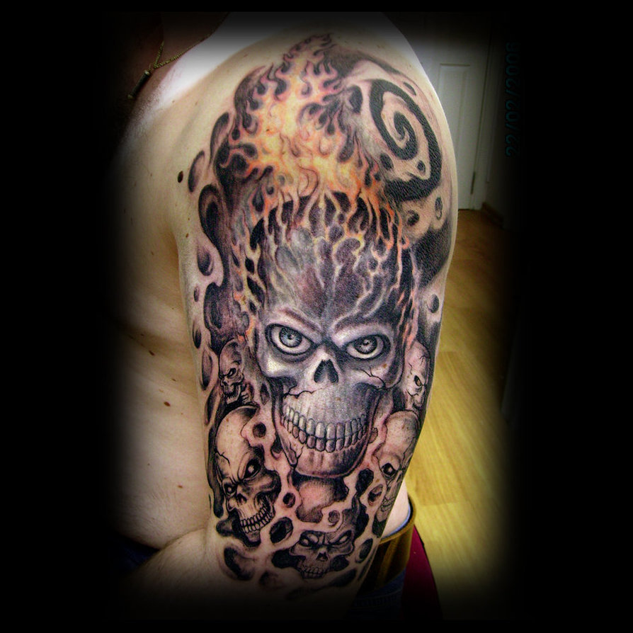 Grey Skull And Coffin Tattoo On Right Half Sleeve