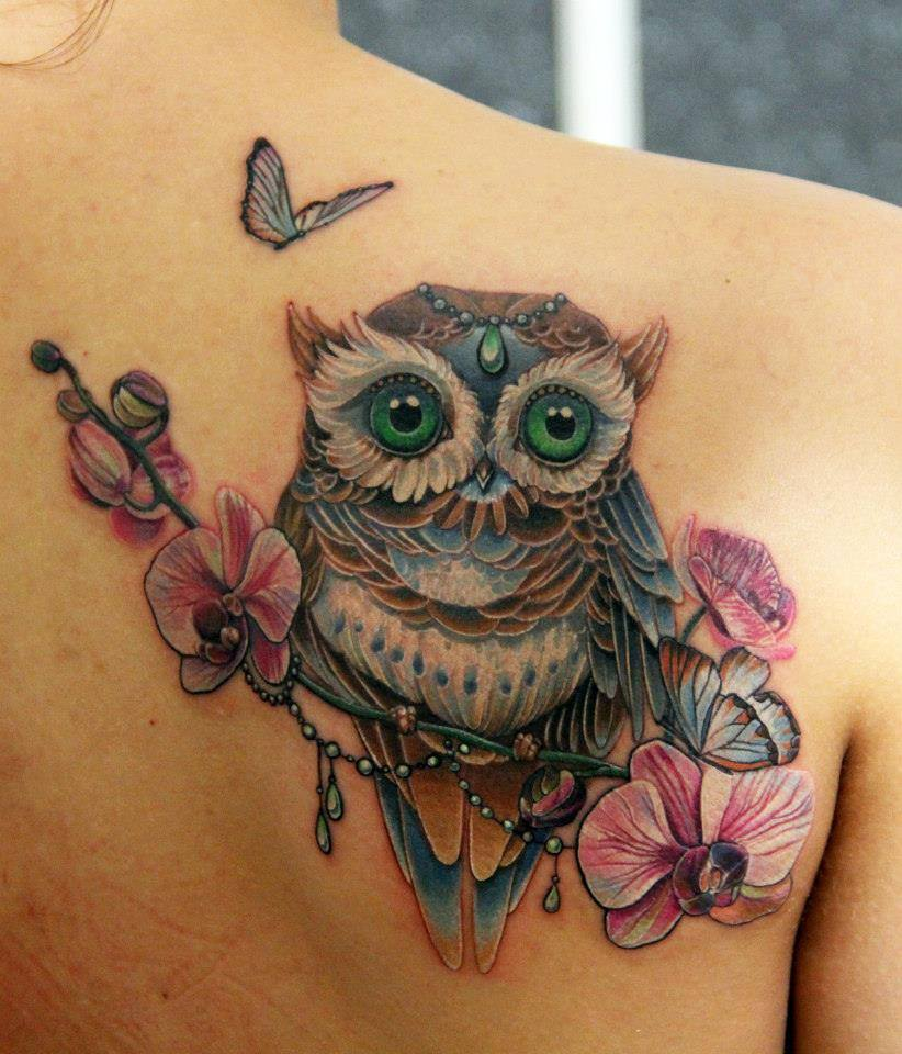 Flowers And Owl Tattoo On Back Shoulder by Anna Belozerova