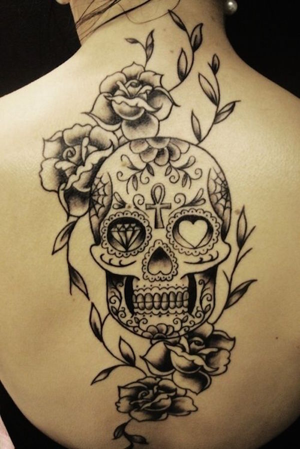 a721642ac Flowers And Sugar Skull Tattoo On Back