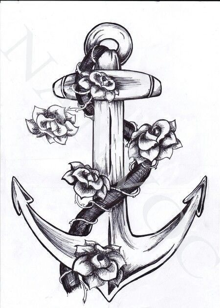 Flowers With Anchor Tattoo Design by Tattoosavage