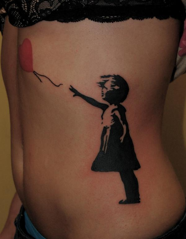 72a783a46 19 Best Banksy Girl Tattoo Designs And Ideas