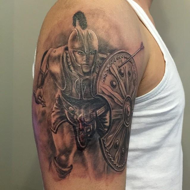 greek achilles tattoo on shoulder by erdo an avdar. Black Bedroom Furniture Sets. Home Design Ideas