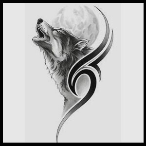 Howling Wolf And Moon Tattoo Design