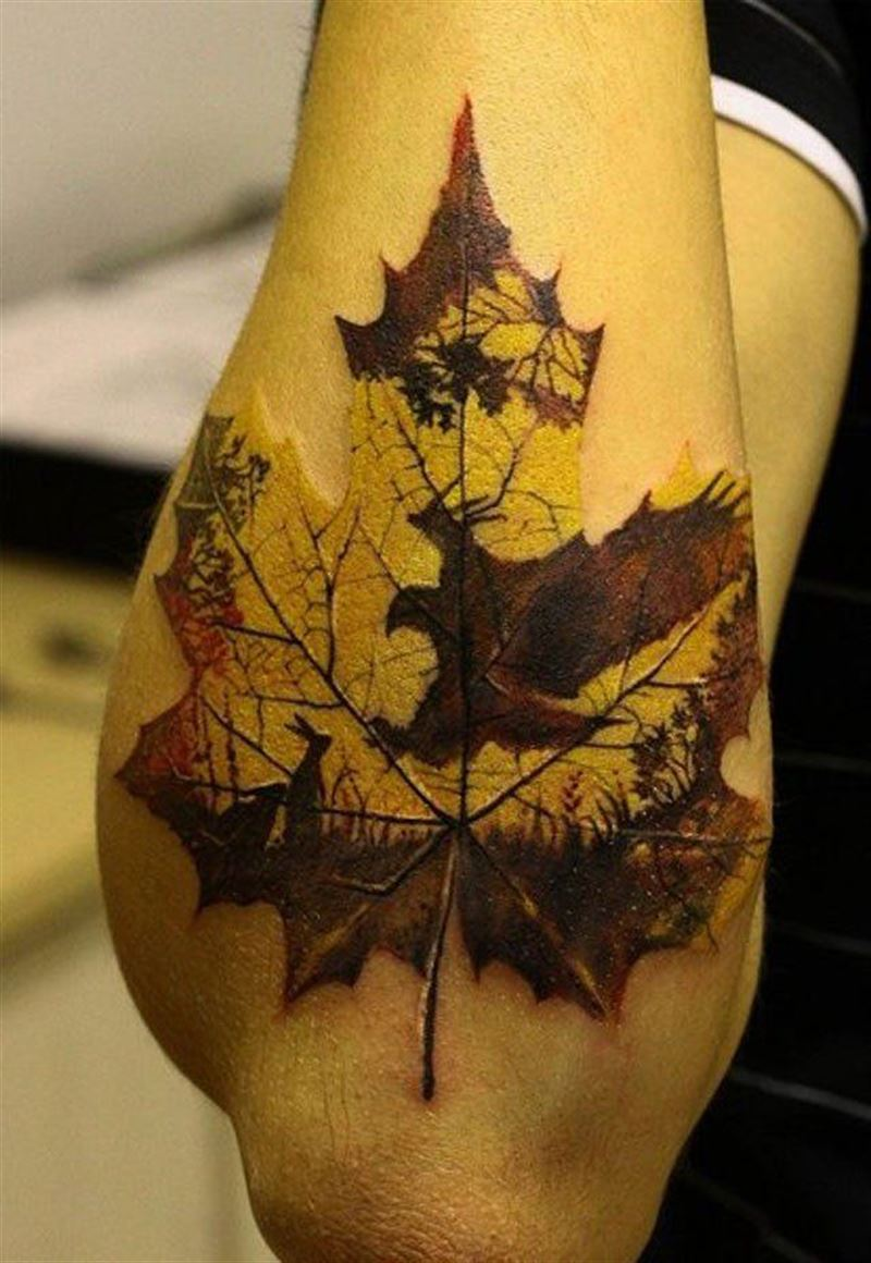 Incredible Maple Leaf Tattoo on Back Forearm