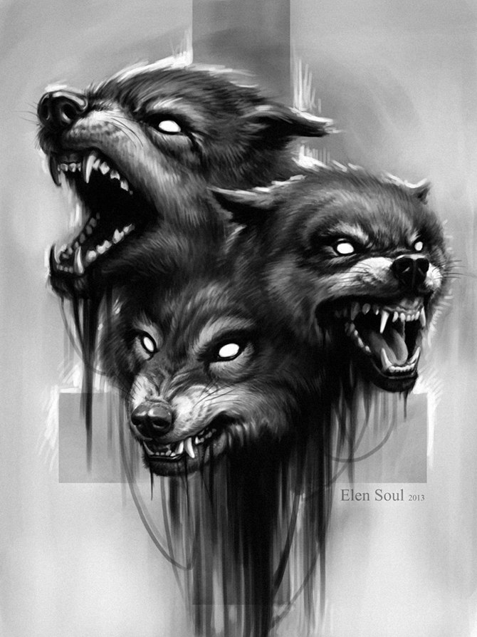 Wolf Tattoo Design By ElenSoul