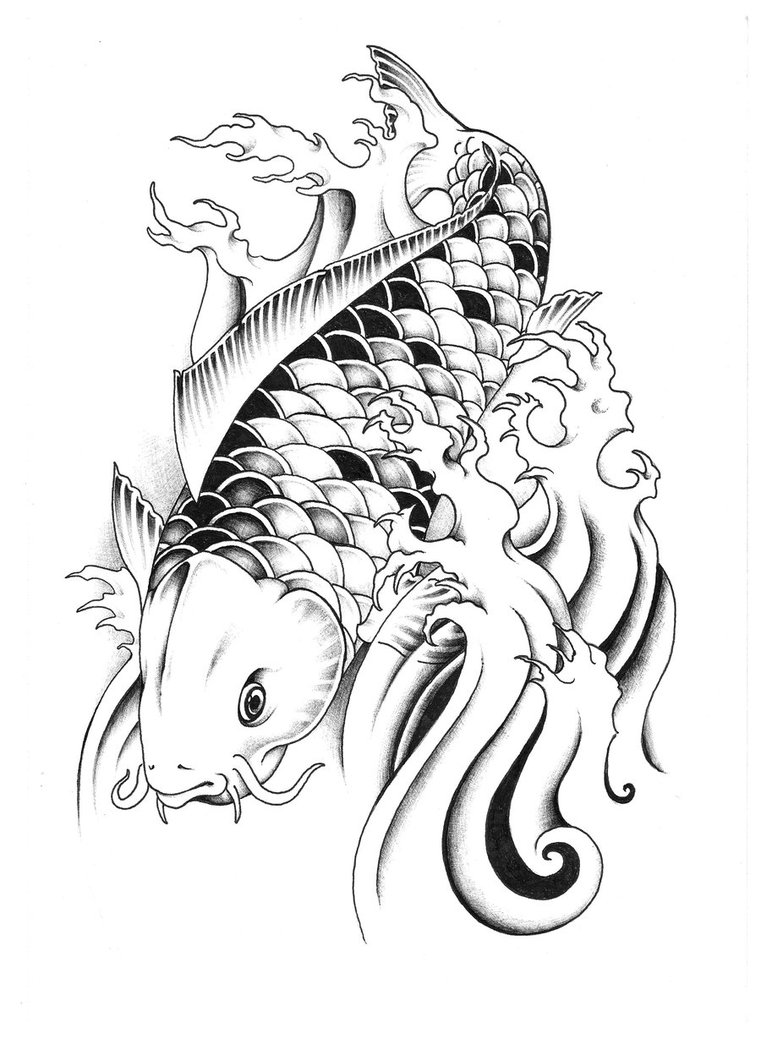 320934bf1c599 Incredible dragon koi fish tattoo by unicyclebabyguy