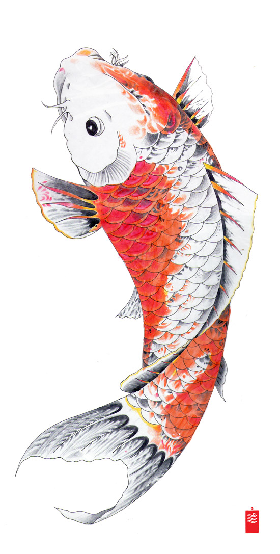 30 koi fish tattoo designs with meanings for Blue and orange koi fish