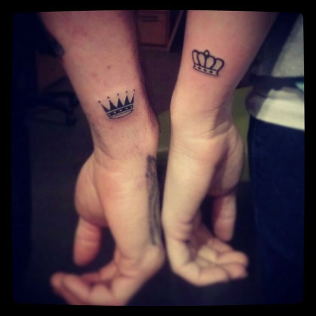 King And Queen Matching Crown Couple Tattoo Design
