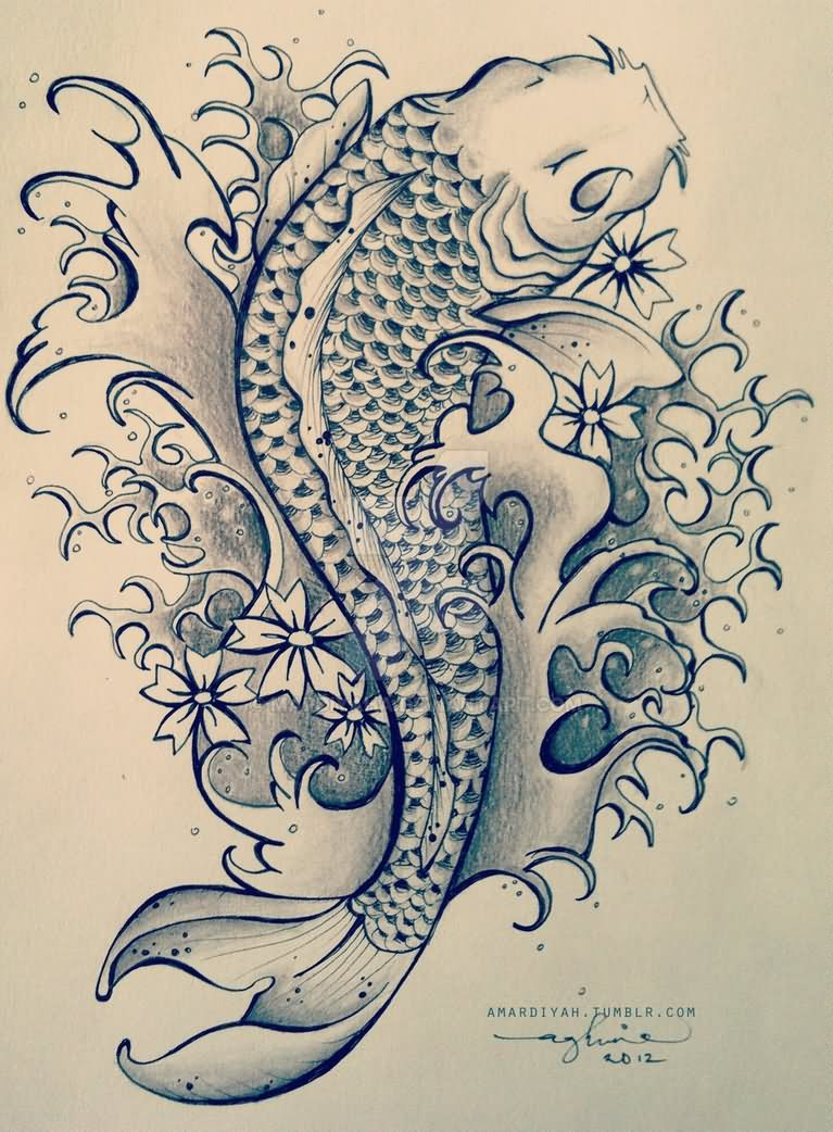 30 Koi Fish Tattoo Designs With Meanings,Design Drawing With All 7 Elements Of Art