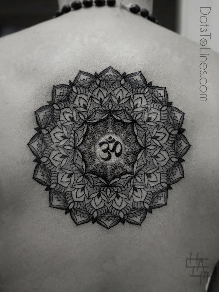 Mandala Sacred Geometry with Om At Center Tattoo