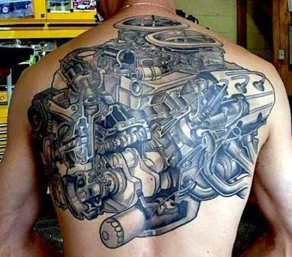 mechanical car engine tattoo on back body. Black Bedroom Furniture Sets. Home Design Ideas