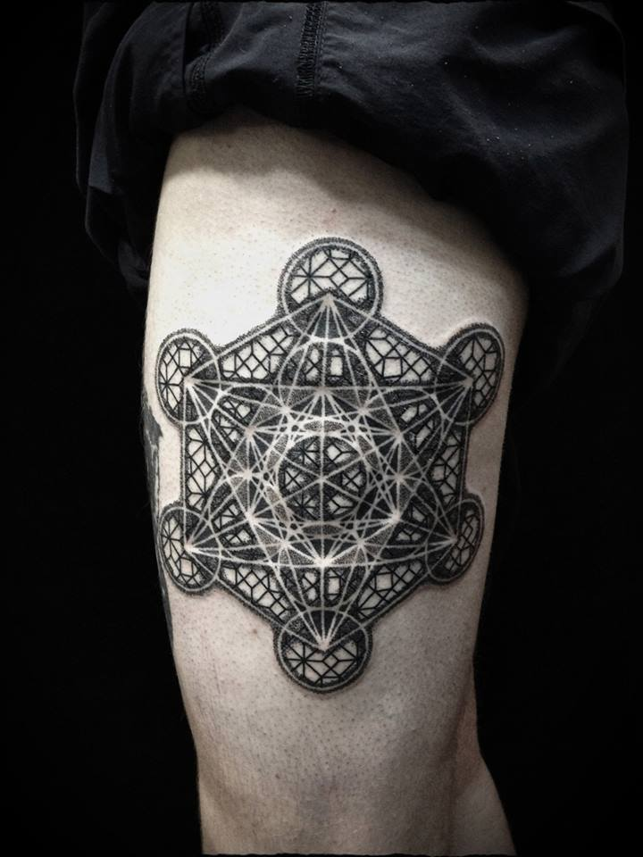 sacred geometry metatrons cube tattoo on forearm. Black Bedroom Furniture Sets. Home Design Ideas