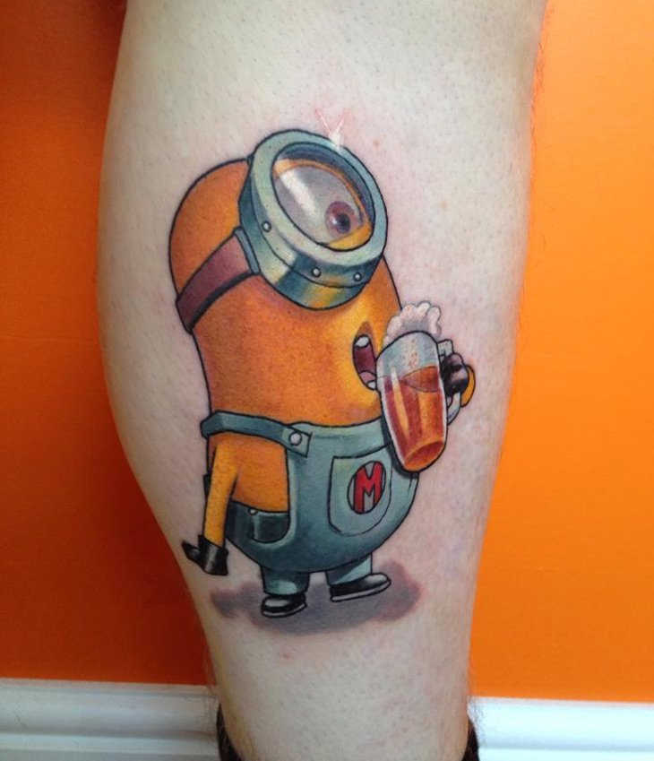 minion drinking beer tattoo on back calf. Black Bedroom Furniture Sets. Home Design Ideas