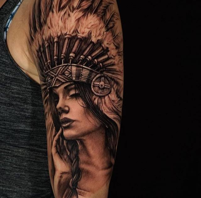 Native American Girl Tattoo By James Strickland